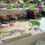Photo of students drawing and painting during Art Night Live