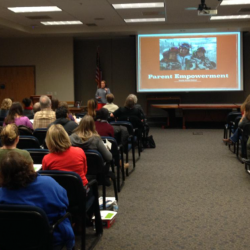 Photo of Deanie Wimmer speaking during Parent Leadership Conference