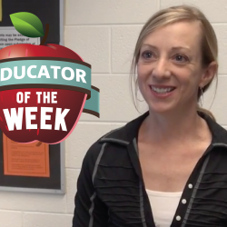 Photo of Lisa Darling and Educator of the Week logo