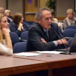 Photo of business representatives addressing board of education