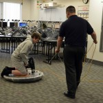 Photo of student riding hovercraft