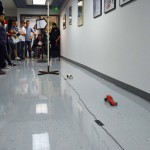 Photo of model drag racers in hallway at CTE Open House