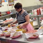 Photo of lunch worker dressed in 50s clothing at Lake Ridge Elementary