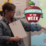 Photo of Kim Stone with Educator of the Week logo