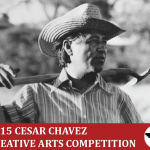 Photo of Cesar Chavez with Creative Arts Competition logo