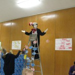 Photo of book character climbing ladder at Farnsworth Elementary