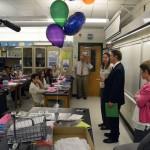 Photo of Hunter Jr High teacher being announced as Excel Award recipient