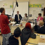 Photo of Kearns High teacher being announced as Excel Award recipient