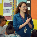 Photo of West Kearns Elementary teacher being announced as Excel Award recipient