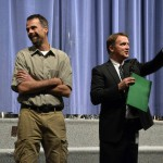 Photo of Valley Jr High teacher being announced as Excel Award recipient