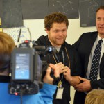 Photo of Driggs Elementary teacher being announced as Excel Award recipient