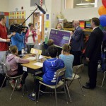 Photo of Upland Terrace Elementary teacher being announced as Excel Award recipient