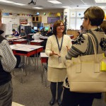Photo of visitors to Elk Run Elementary viewing flipped classroom