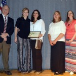Photo of Golden Apple PTA Award recipient posing with Region 5 PTA members