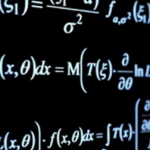 Photo of math equations on black background