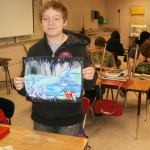 Photo of Eisenhower Jr High student with artwork