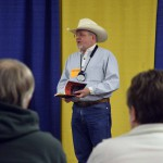 Photo of cowboy poet reciting poetry at Granger Elementary
