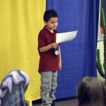 Photo of Granger Elementary student reciting poem