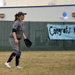 Photo of Hunter High softball player in field