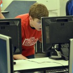 Photo of Wasatch Jr High student working on computer