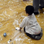Photo of Whittier student participating in sensory activity