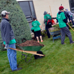 Photo of volunteers cleaning grounds at Bonneville Jr High