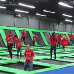 Photo of Eisenhower students bouncing on trampolines
