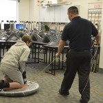 Photo of GTI student on hovercraft