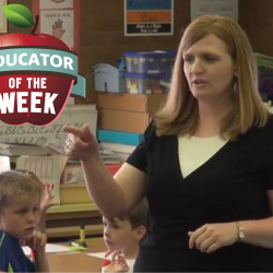 Photo of Melissa Christensen with Educator of the Week logo