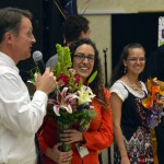 Photo of West Kearns Elementary teacher being announced as Teacher of the Year
