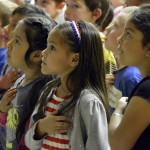 Photo of Copper Hills Elementary students saying Pledge of Allegiance