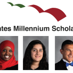 Portraits of three students with Gates Millennium Scholars logo