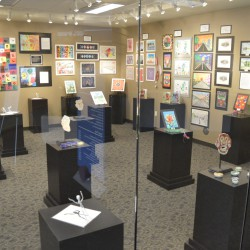Photo of student artwork in Granite Gallery