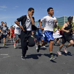 Photo of Kennedy Jr High students running