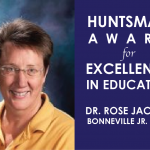 Photo of teacher with text declaring her a Huntsman Award winner