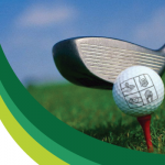 Photo of golf club next to golf ball with Granite Education Foundation logo