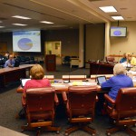 Photo of administrator presenting information to board of education