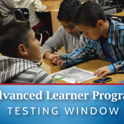 Photo of students completing math assignment with Advanced Learner Testing Window ad
