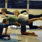 Photo of Churchill Jr High parents doing yoga
