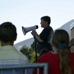 Photo of Crestview staff member addressing students