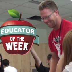 Photo of Hyrum Okeson and Educator of the Week logo