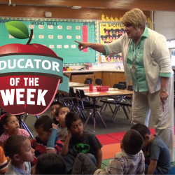 Photo of Lanae Sampson and Educator of the Week logo