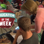 Photo of Kym Hunsaker and Educator of the Week logo
