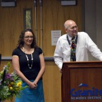 Photo of West Kearns teacher being recognized at board meeting