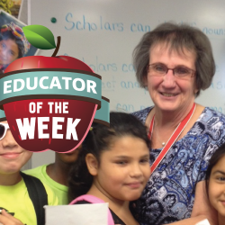 Photo of Luann Banta and Educator of the Week logo