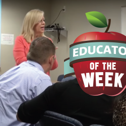 Photo of Marijean Woolf and Educator of the Week logo