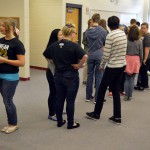 Photo of Brockbank Jr High students standing in line
