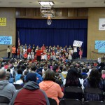 Photo of Orchard Elementary students singing on Veterans Day