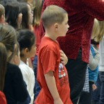 Photo of Orchard Elementary students reciting Pledge of Allegiance