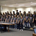 Photo of Matheson Jr High choir performing at board meeting